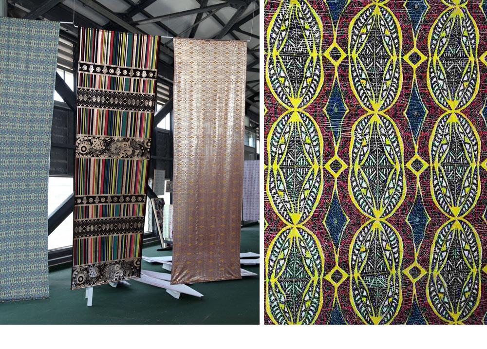 """פרויקט הגמר של אלדד תרקה: הדפסים של מוטיבים אפריקאיים ומאורים, בצבעוניות אתיופית, על יריעות ויניל שעובדו עד שהפכו לבדי """"הוט קוטור"""". משמאל שלושה מהבדים שמוצגים בתערוכה. מימין מבט מקרוב. לצייג אין ספק שתרקה ישתלב בעולם האופנה, """"אלה בדים שמיועדים ללבישה"""" (צילום: ערן תורג'מן, תמי דהן)"""