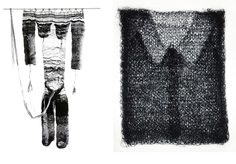 מימין: הפרויקט של ארז סולו-רימון. אובייקטים סרוגים ביד מחוטי מוהר ומשי שחורים, ששולחן אור תחתיהם חושף, כמו רנטגן, את הגזרות החבויות בתוכם. משמאל: הפרויקט של מור לוי. דימוי גוף ארוג ביד ובתלת ממד, שיורד מנול האריגה כיחידה אחת, ללא תפרים. אמירה קונספטואלית על גוף ועל טקסטיל (צילום: יעל מעוז, סשה פליט)