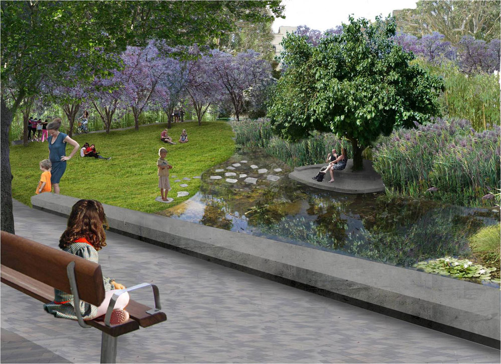 וכך אמור להיראות פארק קטן בלב העיר תל אביב: התושבים של אזור קרית ספר השתתפו באופן פעיל בקביעת התכנים והפונקציות שיהיו כאן (באדיבות רם איזנברג עיצוב סביבה)