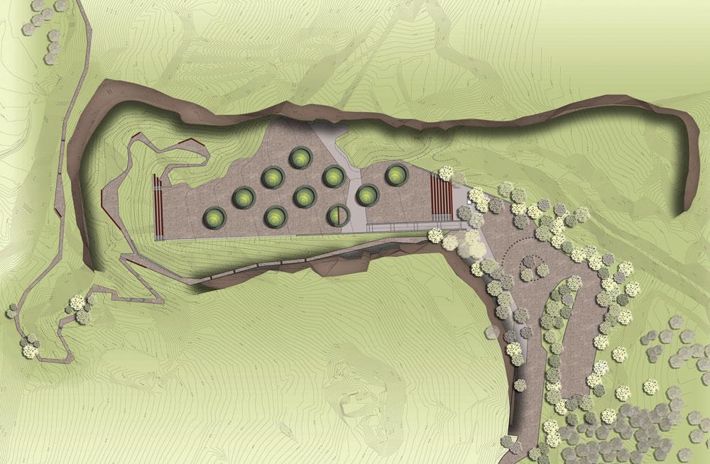 רחוק משם, בצפון רמת הגולן, יקום פארק לימודי-תיירותי בתוך מחצבה נטושה. כך הוא ייראה (באדיבות צורנמל טורנר אדריכלות נוף)