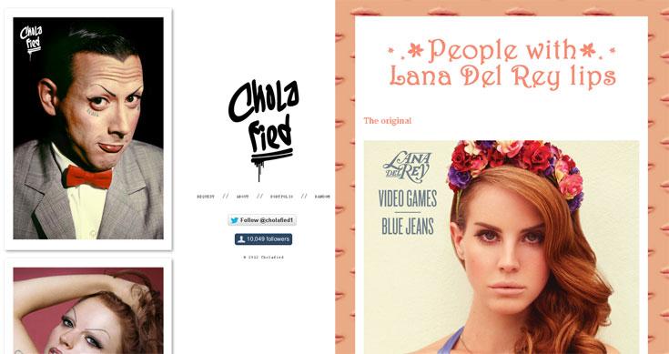 מימין: לנה דל ריי, האישה והשפתיים. משמאל: סלבריטאים כ-Chola