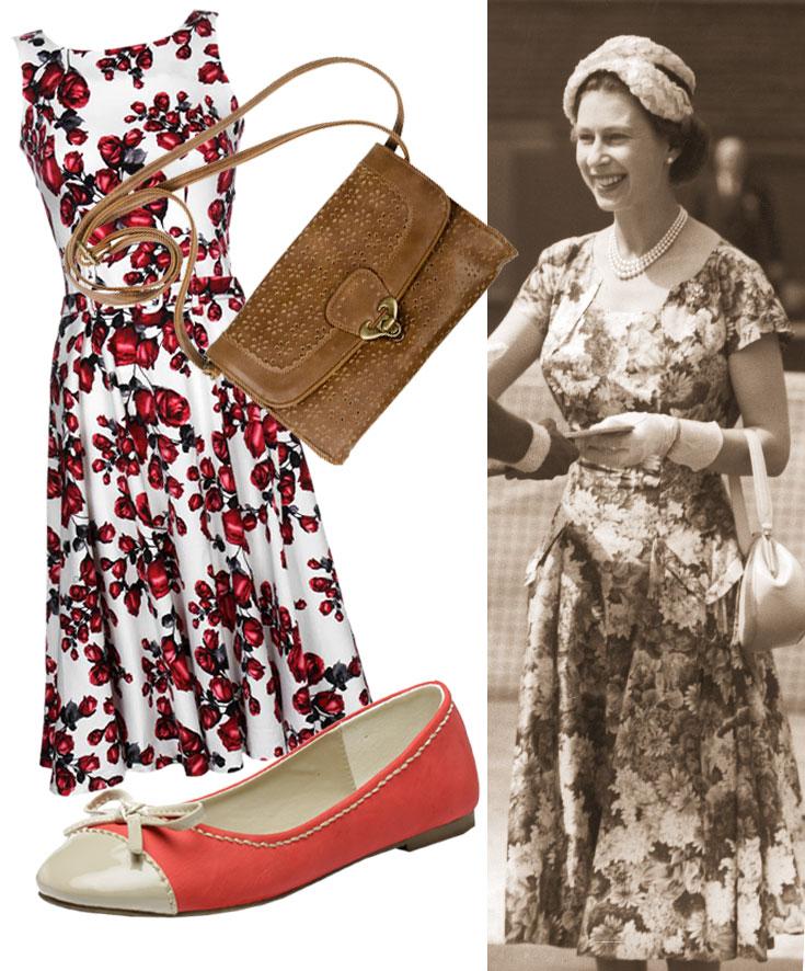 המלכה אליזבת בצילום מ-1954. משמאל אופציה עכשווית: שמלה: נעמה בצלאל, 549 שקל; נעליים: טו גו, 100 שקל; תיק: גולף, 60 שקל