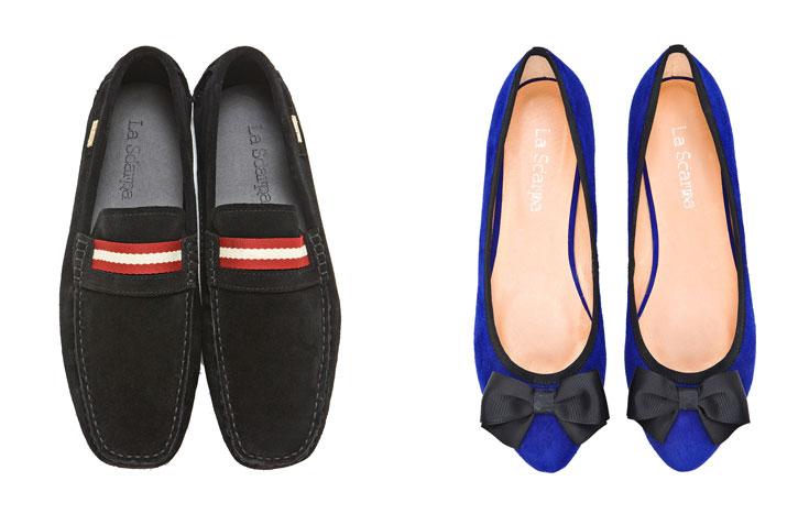 גילי ואיציק לוינשטיין (למעלה) ונעליים של המותג La Scarpa. ''אצלנו אתה לא משלם על שם עולמי, אלא על המוצר עצמו'' (צילום: דדי אליאס)