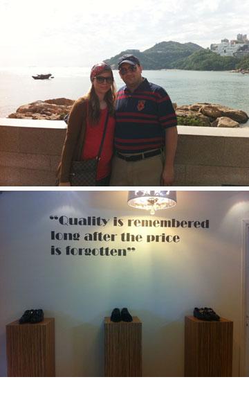 בני הזוג לוינשטיין (למעלה) וחנות המותג La Scarpa בבני ברק