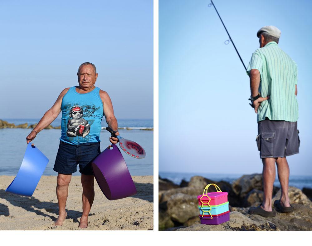 דייג עם קופסאות אוכל צבעוניות (''סופי'').  משה המכונאי (''נשמה'') מדגמן גיגיות מ''אייטמס'' (צילום: דן פרץ )