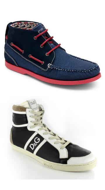 מלמעלה: נעלי גברים של רוקפורט ו-D&G בחנות Better Price (צילום: עדי גרינשפן, גתית רדאל)
