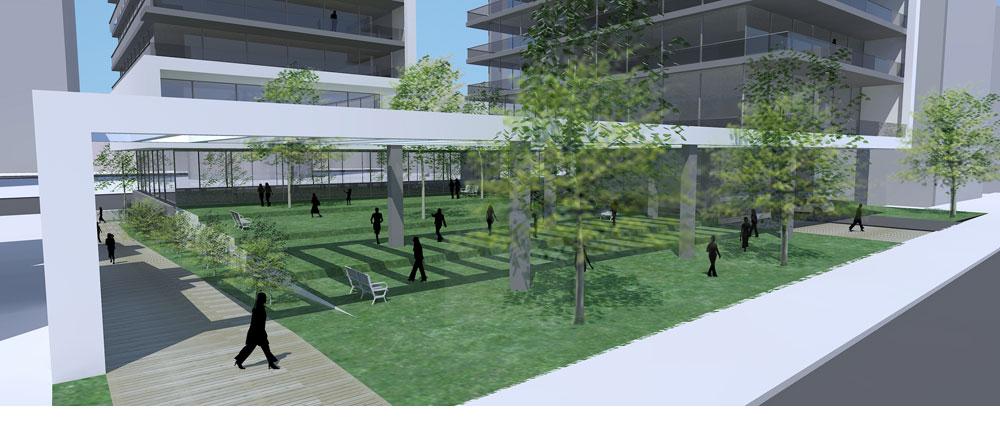 האדריכל גידי בר אוריין תיכנן שטח פתוח בן דונם לרווחת הציבור הרחב. עכשיו נראה שהשטח ישמש לגן ילדים (הדמיה: בר-אוריין אדריכלים)