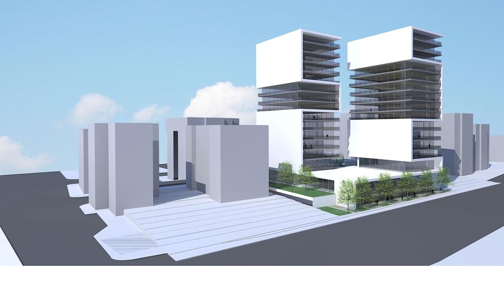 תוכנית הפרויקט ברחוב ויסוצקי 6-8. בתחילה תוכנן מגדל של 33 קומות. בסופו של דבר יוקמו שני מגדלי דירות בגובה 15 קומות כל אחד - כפליים מהמקובל באזור (הדמיה: בר-אוריין אדריכלים)