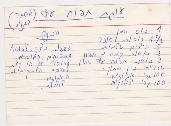המתכון בכתב ידה של רות (צילום: אסנת לסטר)