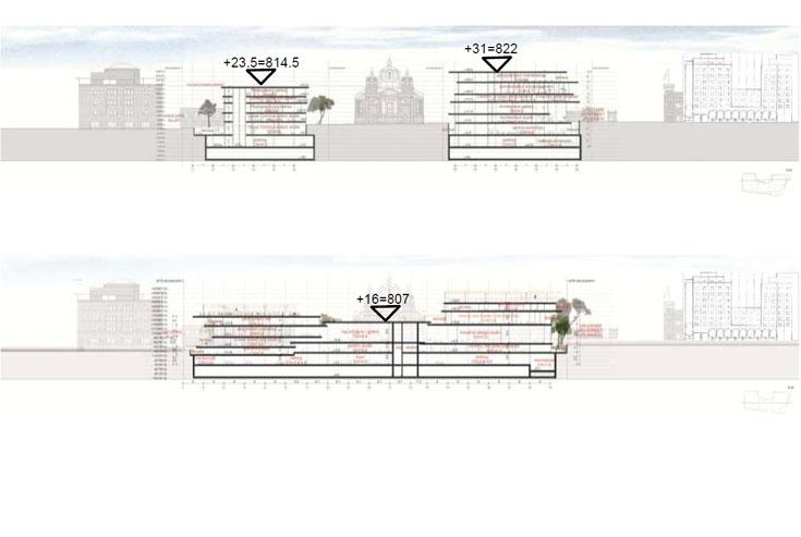 שטחי בנייה מבוקשים: עיקרי על-קרקעי 26,000 מ''ר, עיקרי תת-קרקעי 2,000 מ''ר, שירות על-קרקעי 18,900 מ''ר, שירות תת-קרקעי 15,150 מ''ר. סך הכל: 62,060 מ''ר (שרטוט: ניר-קוץ אדריכלים, SANAA)