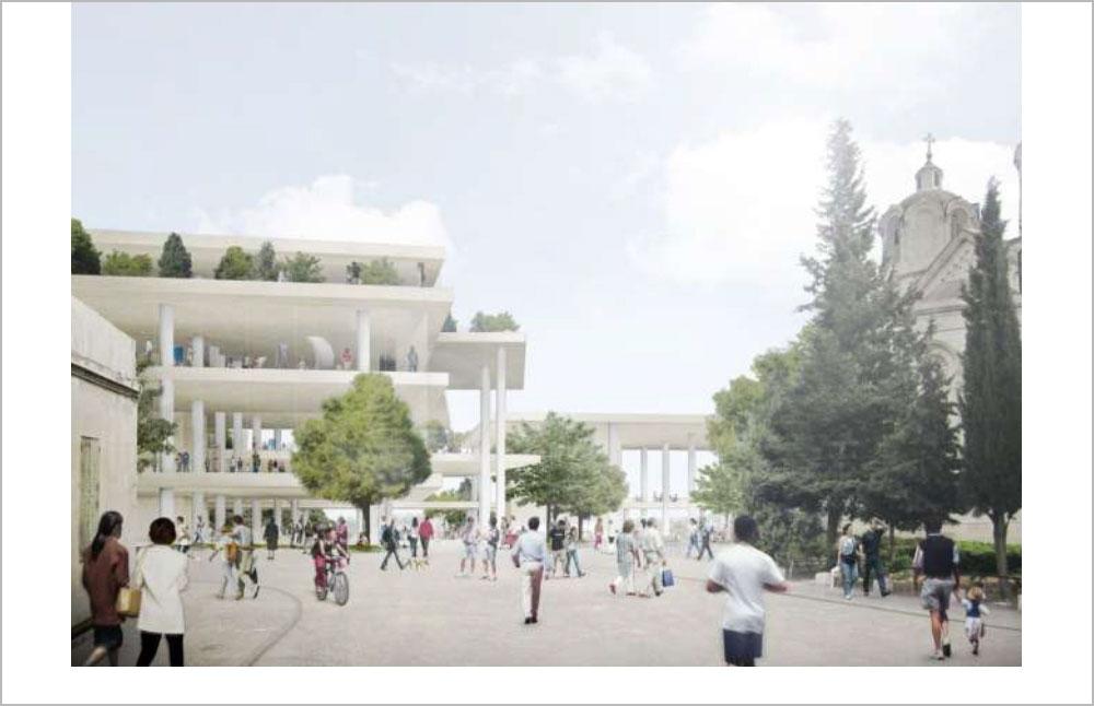 60 אלף מ''ר בנויים על פני 13.5 דונם, שבהם ילמדו כ-2,500 סטודנטים. כך אמור להיראות הקמפוס החדש של ''בצלאל'' במגרש הרוסים (הדמיה: ניר-קוץ אדריכלים, SANAA)