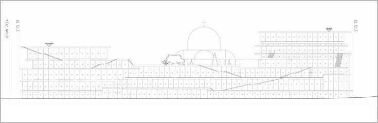 הבניין הוא דמוי פירמידה, וכך, המסות הבנויות קטנות והולכות ככל שעולים בגובה. פרטים בתוכנית צפויים לעבור שינויים