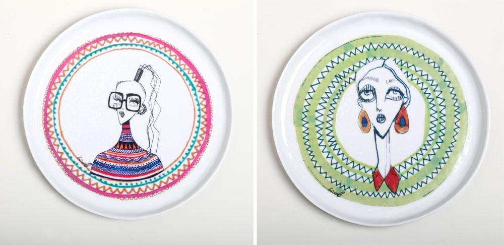 צלחות מאוירות של שירה ברזילי, בשיתוף פעולה עם בית העיצוב קסטיאל. זהו מוצר ראשון של מאיירת האופנה, שהדמויות הקוקטיות הפכו לסימן ההיכר שלה, בעולם הפריטים לבית (צילום: רונן פדידה)