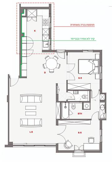 תוכנית הדירה לאחר השיפוץ (באדיבות גדי מידן)