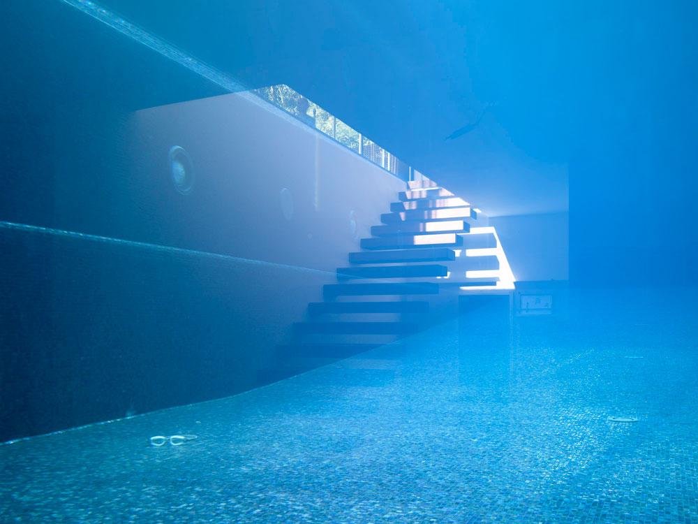 וזו קרקעית הבריכה, כפי שהיא נראית מחלון גדול שנפער בקומת המרתף של המבנה שבצדה השני, שבו חדר כושר וספא (צילום: עמית גרון )