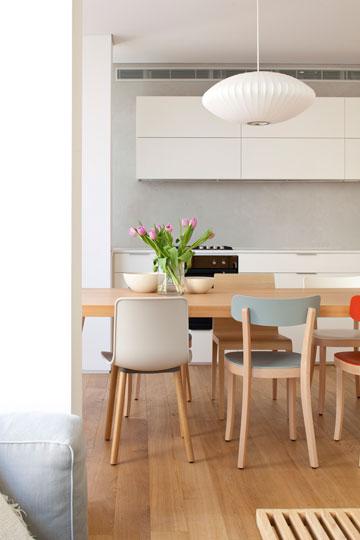 כסאות אוכל בצורות ובצבעים שונים (צילום: עמית גירון)