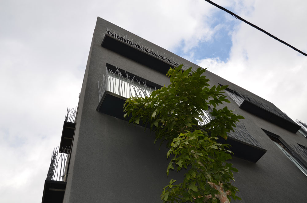 פתרון מקורי למעקות המרפסות בבניין מגורים בשכונת כרם התימנים בתל אביב. העוברים והשבים כבר המציאו להם כינויים שונים: ''דשא, שיפודים, קוצים, ספגטי''. את השם המקורי ביותר נתנו ותיקי הכרם, שמכנים את הבניין ''הבית השחור עם השערות'' (באדיבות פריצקי ליאני אדריכלים)