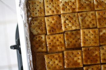 בסיס העוגיות: קרקרים ורוטב טופי (צילום: Lillie Auld)