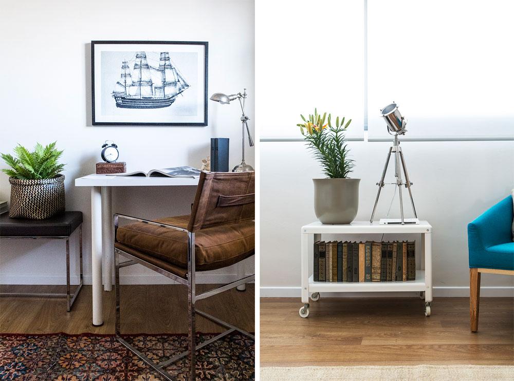 מחשבה הושקעה בכל פינה. בחדר השינה (בתמונה מימין) ובחדר העבודה (משמאל) שולבו פריטים זולים - כוננית מתכת על גלגלים ושולחן עבודה פשוט - בחפצים מעוצבים שנבחרו בקפידה (צילום: איתי בנית. סטיילינג: יעל קטורזה (סטודיו passe-par-tout))
