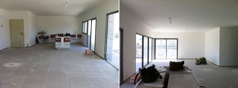 משמאל: חלל המטבח כפי שנראה כשהדירה נמסרה מהקבלן (השוו עם התמונה למעלה). מימין: חלל הסלון המקורי (השוו עם התמונה למטה) (צילום: אלה צייחר)