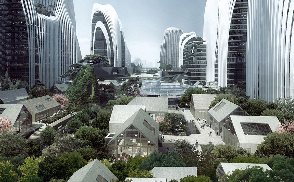 פרויקט ''מרכז הימלאיה'' בסין, שבנייתו אמור להסתיים ב-2017. ההשראה: ציורי השן-שוי המסורתיים. הדמיה: משרד האדריכלים הסיני MAD