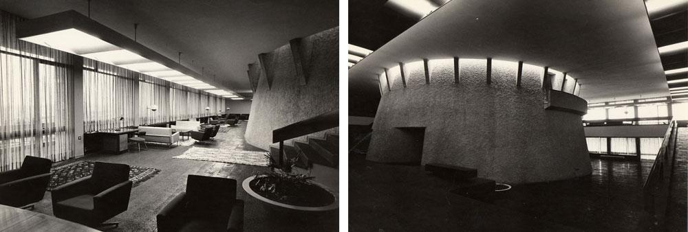 הבניין הישן במכון ואן ליר, בתכנונם של רזניק ופובזנר, מתאפיין בקווים אופקיים שנשברים בחרוט קטום. השפיעו על נימאייר או להיפך? (צילום: דוד רובינגר)
