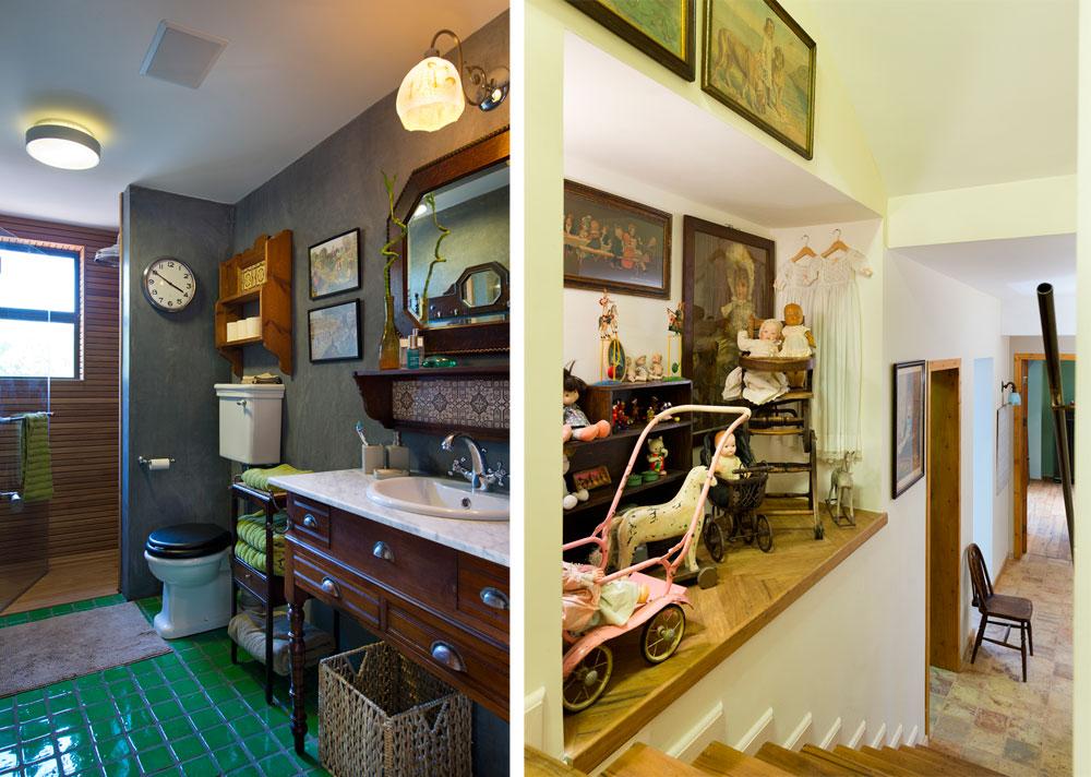 הבית הוא פסיפס גדוש בחומרים, צבעים וסגנונות - כל חדר ייחודי. מימין: גרם המדרגות המוביל לקומת המרתף, שלצדו הורכבה מעין ''תמונת ילדות'', עם בובות, עגלה, כותנות שינה וצעצועים - כולם עתיקים. משמאל: אחד מחדרי הרחצה בקומת חדרי השינה של הילדים (כולם גדולים), עם טיח טדלק מרוקאי אפור, אריחי רצפה קטנים בירוק עז ומקלחון מחופה עץ, נוסח סאונה (צילום: יונתן בלום)