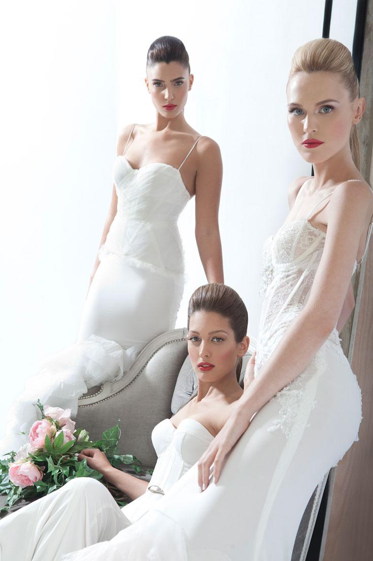 תמר סקורסירב בשמלת תכשיט, דורון מטלון ומור ממן בשמלות גלאם פיור   (צילום: תום מרשק)
