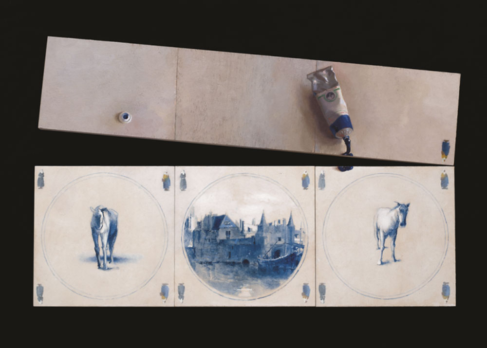 """עבודה של סיגל צברי, מתוך """"דלפט כחול-לבן"""" במוזיאון תל-אביב. האריחים ההולנדיים העתיקים הפכו לפריטי אספנות נחשקים בכל העולם"""