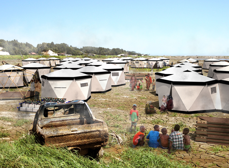 כך עשוי להיראות כפר האוהלים (הדמיה: באדיבות ביהס לארכיטקטורה, אוניברסיטת אריאל)