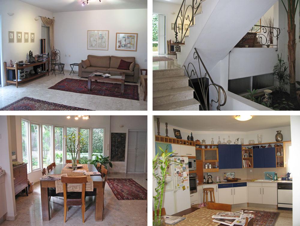 הבית, ''לפני''. למעלה מימין: הפטיו שבוטל והפך לגלריה ביתית. למעלה משמאל: פינת הישיבה בסלון, עם הרהיטים הישנים וקיר שהוסר. למטה מימין: המטבח, עם ארונות אלכסוניים ומיושנים. למטה משמאל: פינת האוכל עם הקיר המעוגל שהוחלף בקירות זכוכית ישרים (צילום: שחר רוזנפלד אדריכלים     )