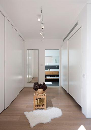 המסדרון המוביל לחדר הרחצה תחום בשני ארונות גדולים (צילום: שי אפשטיין )