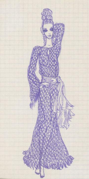 שמלת מקסי עם טקסטורה מחוררת וגדילים היוצאים מהשרוולים ומהאימרה (איור: עמוס גוטמן)