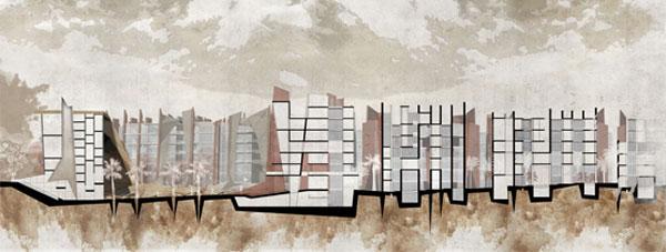 חתך של הפרויקט (באדיבות בית הספר לארכיטקטורה באוניברסיטת אריאל )