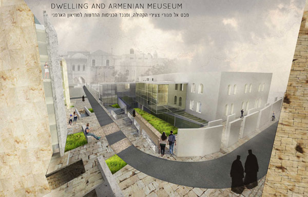 הפרויקט של סרסיק-פיטוסי: הדמיה של מרכז המגורים (באדיבות בית הספר לארכיטקטורה באוניברסיטת אריאל )