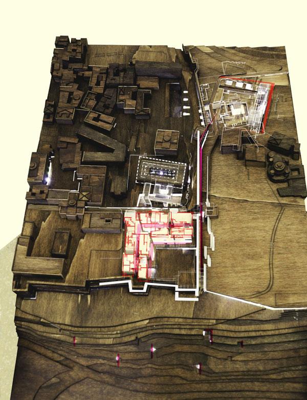 מודל ושרטוט (באדיבות בית הספר לארכיטקטורה באוניברסיטת אריאל )