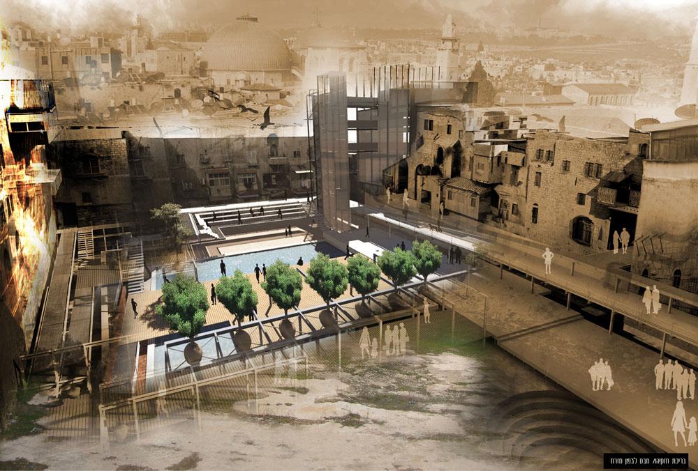 הפרויקט של מנחם שיינין: חיבור בין מתחם ממילא בירושלים לעיר העתיקה (באדיבות בית הספר לארכיטקטורה באוניברסיטת אריאל )