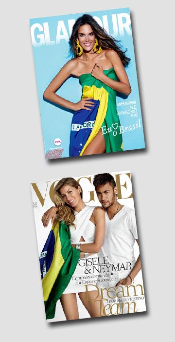 הדגל ואני. אלסנדרה אמברוסיו על שער מגזין גלאמור וג'יזל בונדשן עם ניימאר על שער מגזין ווג ברזיל