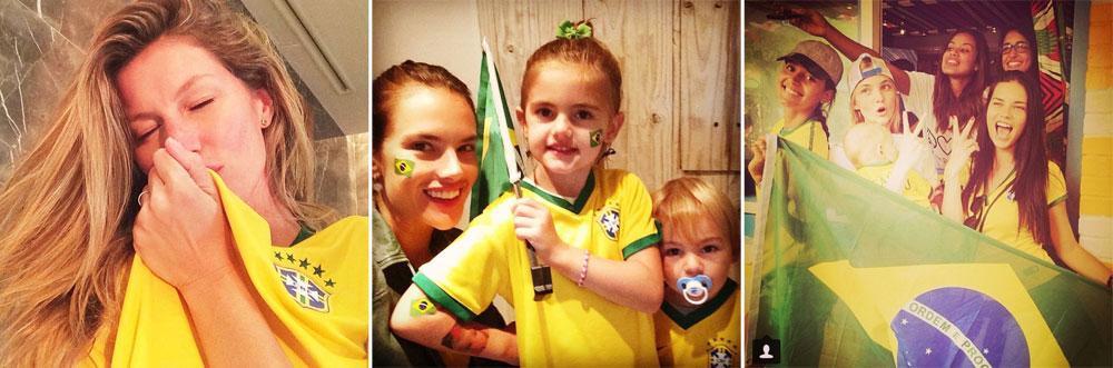 אדריאנה לימה, קרוליין טרנטיני ועמנואלה דה פאולה מצטלמות עם דגל ברזיל, אלסנדרה אמברוסיו מלבישה את הילדים במדי הקבוצה וג'יזל בונדשן מנשקת את חולצת הנבחרת (מתוך אינסטגרם)