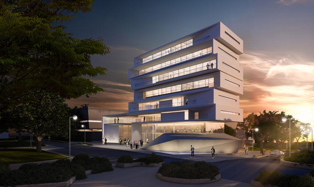 שלב ג' ואחרון: שלוש קומות מעל הבניין הקיים. הרצון הוא להימנע מזלילת שטחים ירוקים, ולכן הבנייה לגובה (הדמיה: מיכל גרינבאום)