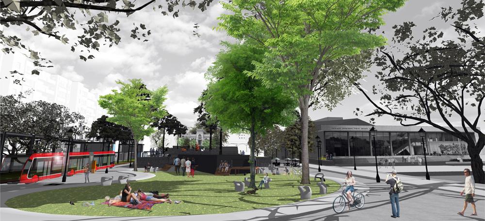 כפי שרחוב יפו משגשג בזכות הרכבת הקלה הם מציעים להפוך את רחוב ויצמן לציר שישמש את מערכת BRT שמתוכננת להיכנס לשימוש כחלק מהמערכת להסעת המונים של גוש דן  (תכנון:  אדריכל רוני פרידמן, אדריכל שהם שמחי)