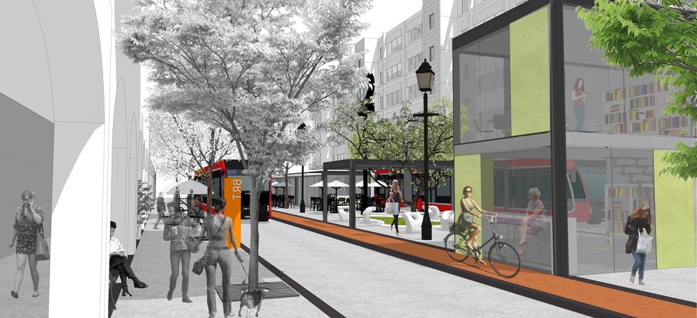 האדריכלים רוני פרידמן ושוהם שמחי רוצים לייצר זהות ברורה לרחוב הראשי, ולשלוף ממנו את המכוניות כפי שנעשה בירושלים (תכנון:  אדריכל רוני פרידמן, אדריכל שהם שמחי)
