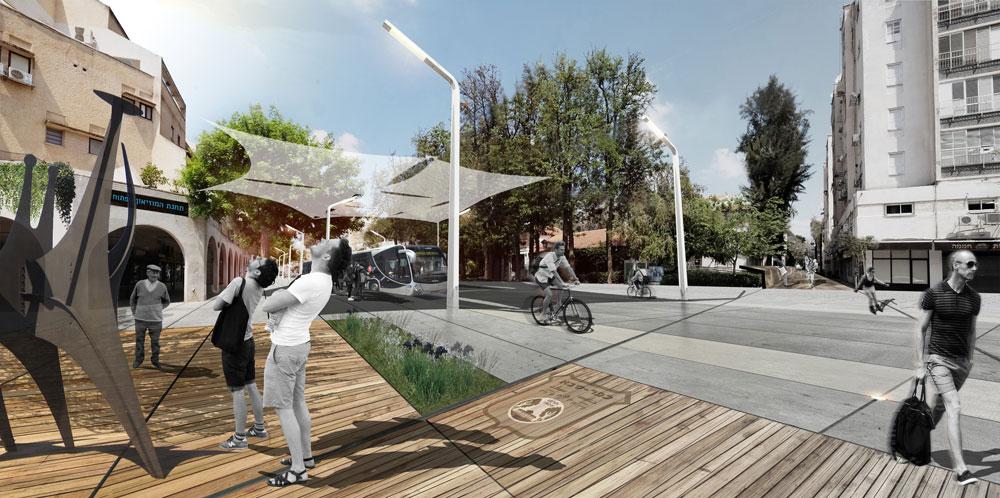 ההצעה שזכתה במקום השני מחלקת את מרכז העיר לחמישה שדות, עם שטחים פתוחים שיתאחדו לרצף ציבורי אחד (תכנון: אדריכל גיא בלטר (סטודיו ארקו), אדריכלית נוף עינת שילר, אינג' מיכאל קוגן)