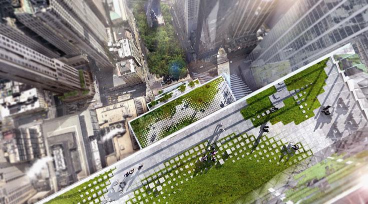 נוף מסחרר מצפה לעובדים שייצאו לגגות ולמרפסות. הקומות העליונות יושכרו לדיירים אחרים