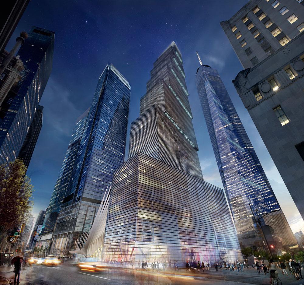 המגדל, על 7 התיבות שלו שמונחות זו על זו, משתייך לזרם הקובייתי הנוכחי באדריכלות המגדלים של ניו יורק. כל קומה מוקטנת יוצרת מרפסת גדולה, ומאפשרת להקרין מבזקים בתחתיתה