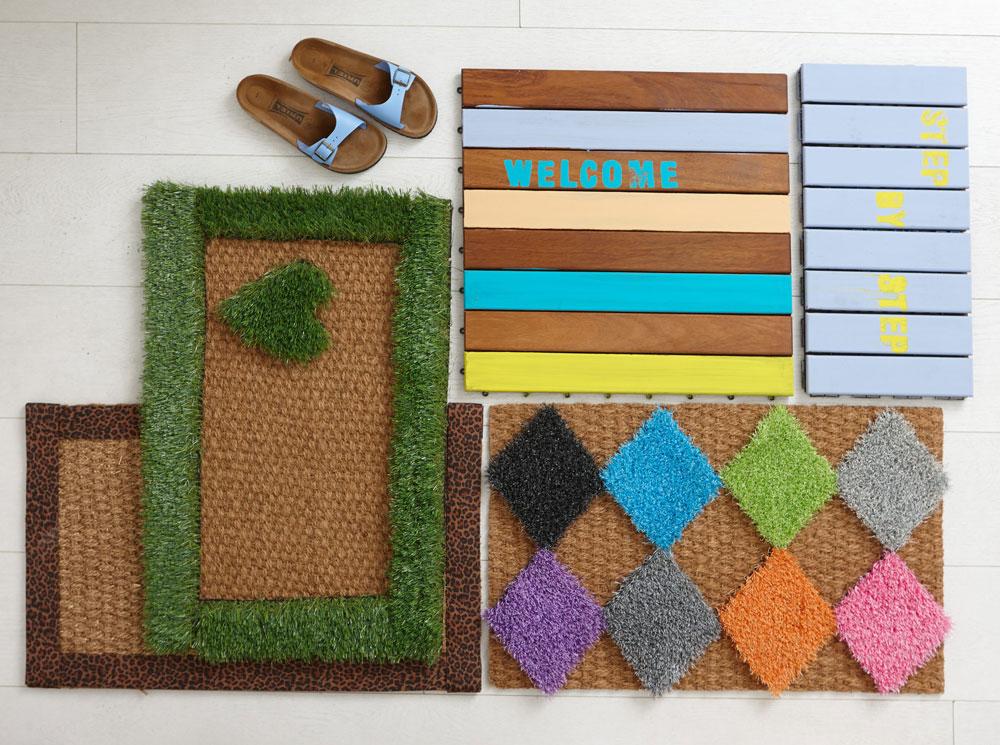 מימים למעלה בכיוון השעון: שני שטיחונים שקושטו בדשא סינטטי, שטיחון ששודרג באמצעות רצועות טקסטיל , מדרך עץ צבוע (צילום: עדי גלעד)