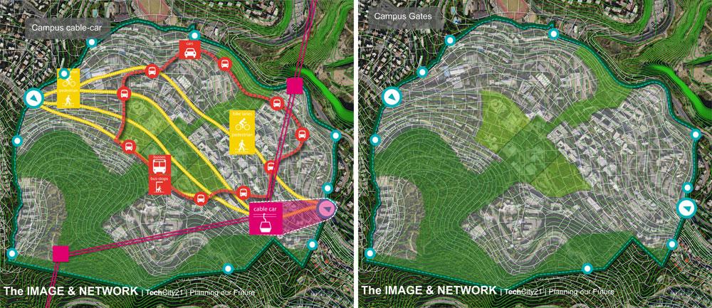 קו המתאר של הטכניון כיום (מימין) והתחבורה שאמורה לפעול ממנו ואליו בעתיד (משמאל). שבילי אופניים, שיפור התחבורה הציבורית וחניות נוחות יותר (באדיבות הפקולטה לארכיטקטורה ובינוי ערים ואגף בינוי ותחזוקה בטכניון)