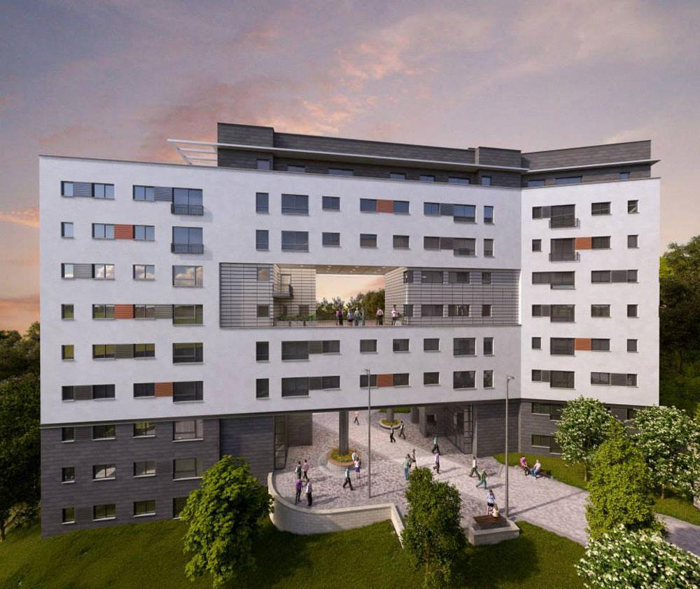 התוכנית כבר החלה: מעונות ההסמכה שהקמתם כבר החלה יאכלסו 490 מיטות לסטודנטים, בארבעה בניינים בני תשע קומות כל אחד (תכנון: אדר' ג'ומאנה אבינדר, אדר' יעל גרנות)