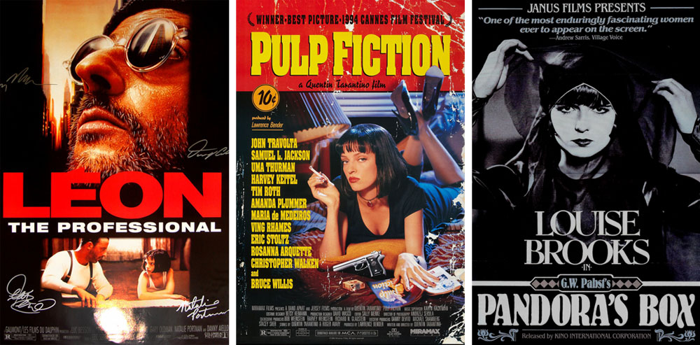 """גירל פאואר קולנועי במחווה לדמותה של לואיז ברוקס משנות השלושים של המאה הקודמת. מימין: """"תיבת פנדורה"""" (1929), """"ספרות זולה"""" (1994) ו""""לאון"""" (1994)"""
