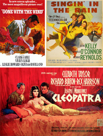 """הטכניקולור סיפק צבעים עזים וגדולים מהחיים. למעלה: כרזות הסרטים """"שיר אשיר בגשם"""" (1952) ו""""חלף עם הרוח"""" (1939).  למטה """"קלאופטרה""""   (1963)"""